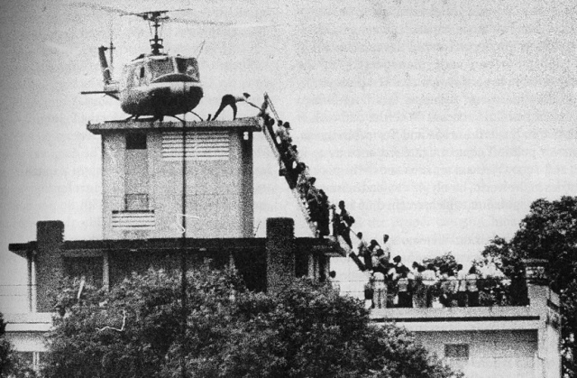UH-1 Huey helicopter on Saigon rooftop April 29, 1975