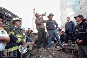 President George W. Bush at Ground Zero on September 14, 2001