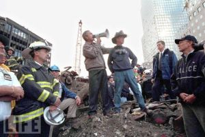 President George W. Bush at Ground Zero on September 14, 2001