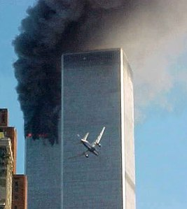 United Airlines Flight 175 seconds before impact into The South Tower